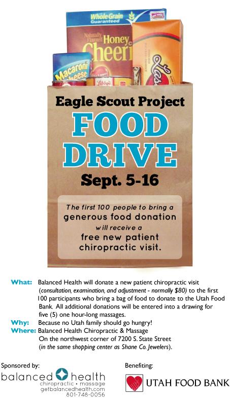 Food Drive benefiting Utah Food Bank; Sponsored by Balanced Health Chiropractic